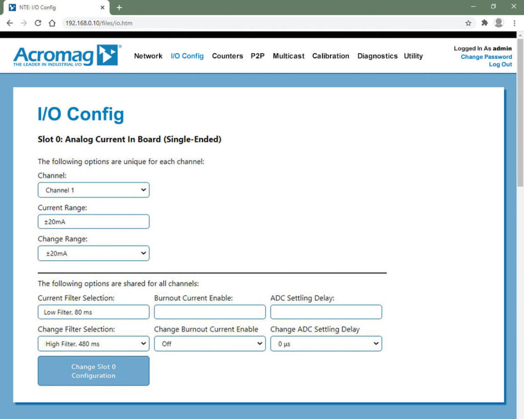 NTE Software Screen: I/O Config
